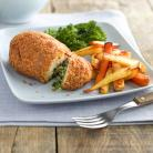 Chicken kiev Chips & Salad